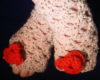 Crocheted fingerless gloves 'Hey Juliet' in beige