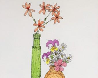 Garden flowers. A4 colour print from an original pen & watercolour drawing.