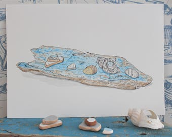 A4 Original pen and watercolour painting. Beachcombing Finds.