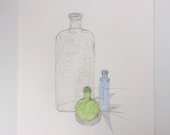 A4 Original pen and watercolour painting. Three Glass Bottles.