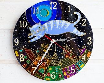 Stained glass clock Hand painted Cat clock Stained Glass Painted wall art for Children Baby Boy Girl Nursery