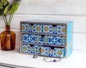 Desktop organizer Blue Gold, Makeup storage chest, Makeup organizer, Mini chest of drawers, Wooden jewelry box, Makeup drawers, Vintage box