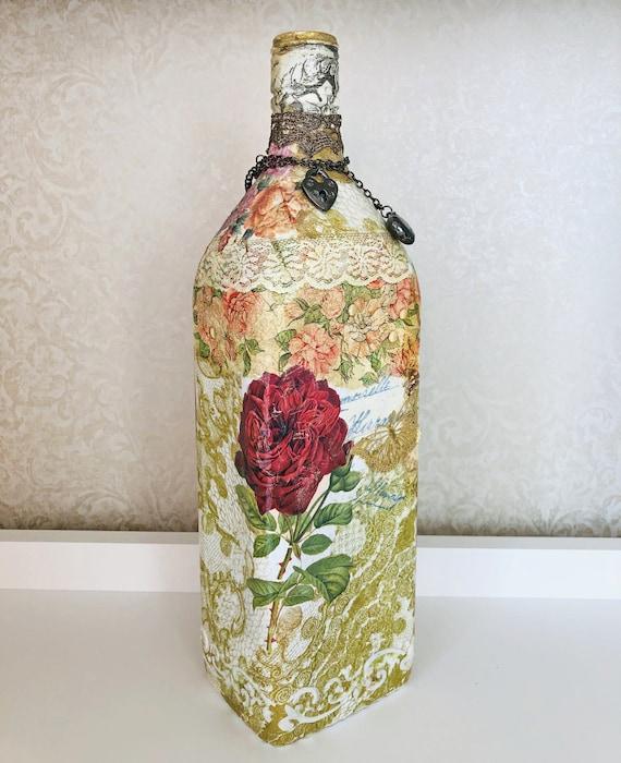 Decorative Glass Bottles Decorative Bottles Upcycled Etsy
