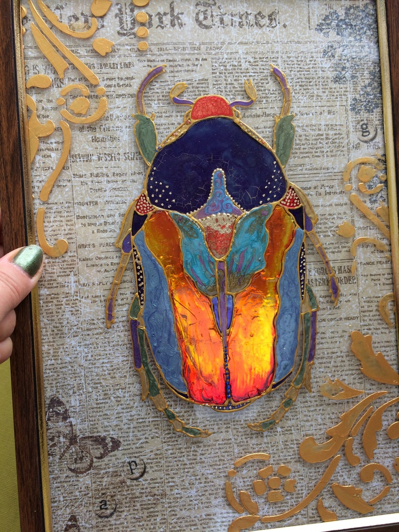 Original Stained Glass Painting Shiny Beetle Christmas Gift Etsy