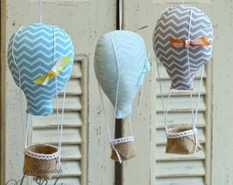Hot Air Balloons, Handmade Hot Air Balloons, Blue Hot Air Balloon, Baptism, Baby Party, Baby Shower, Baby Room, Baby Boy, Home Decor, Set 3