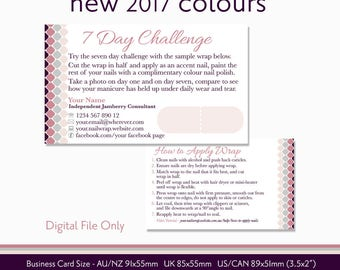 Jamberry etsy 7 day challenge nail wrap consultant sample card customised digital file printable stationery 2017 jamberry colours reheart Choice Image
