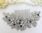 Big crystal flower hair piece with dark blue pearls Big silver hair clip semi flower wrath sapphire pearls Something blue for bride hair pin