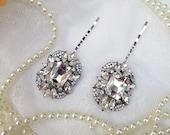 Crystal clear hair pin, jewel hair pin, crystal wedding hair piece, crystal clear bridal pin, crystal hair pin, Marie Antoinette pin, OOAK