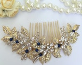 Big gold crystal flower hair piece with dark blue pearls Gold hair clip semi flower wrath sapphire pearls Something blue for bride hair pin