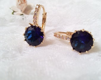 Sapphire blue golden earrings, CZ bridal earrings, Bride blue Earrings, wedding jewelry, sapphire earrings, bridal jewellery zircon earrings