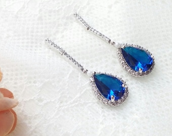 Sapphire blue long earrings, CZ bridal earrings, Bride blue Earrings, wedding jewelry, sapphire earrings, bridal jewellery, zircon earrings