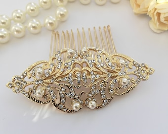 Vintage style Gold hair comb with pearls Bridal Period headpiece Edwardian Victorian  wedding hair pin Steampunk Intricate gold hair clip