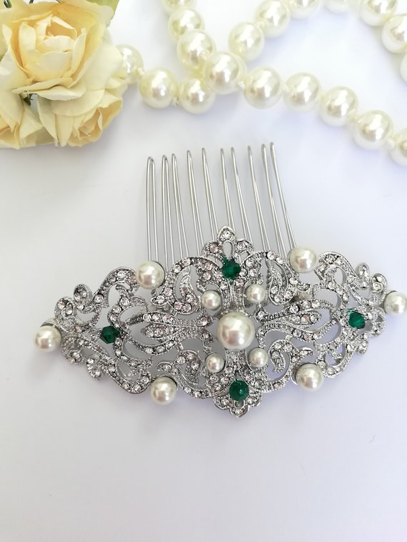Edwardian styled rose gold hair comb with pearls Art Deco rhinestone hair comb Rose gold Wedding hair clip with pearls Downton Abbey 1920s