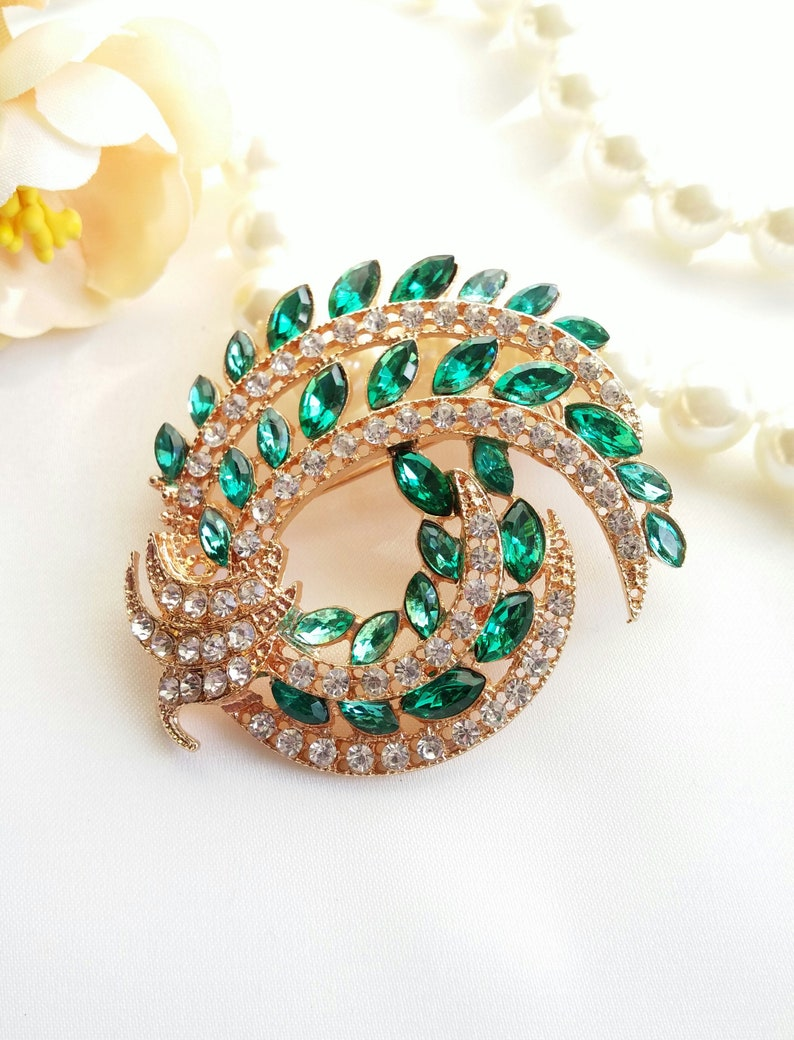 emerald green Art Deco gold headpiece Gatsby gold emerald Green pin Emerald Green gold Wedding hair comb Vintage styled Jane Austen comb