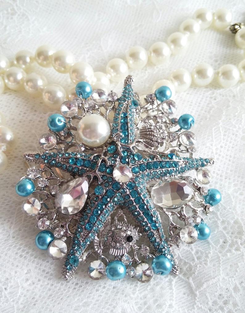 Turquoise Starfish hair comb Turquoise Rhinestone hair piece Beach starfish wedding comb Mermaid hair clip Aqua wedding headpiece SALE 52