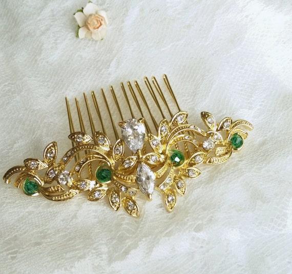 Evening Star hair pearl wedding head piece CZ wedding hair comb ivory pearls bridal comb Golden wedding Hair Comb zircon with pearls