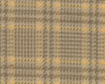 BTY vintage yellow and tan plaid auto upholstery fabric