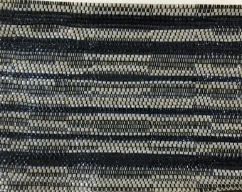 BTY mid century 1960 Dodge auto upholstery woven black and tan vinyl