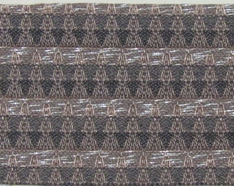 ROLL END 1.5 yards 1962 Ford Brown abstract stripes with silver thread