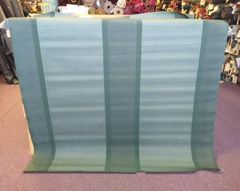 BTY mid 1960s green striped panel upholstery fabric