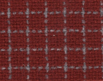 BTY vintage 1986 Jeep rust and grey windowpane upholstery fabric