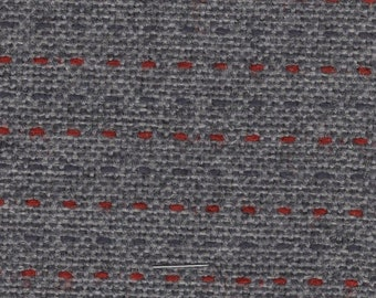 BTY vintage 1989 Plymouth upholstery fabric grey with red weave