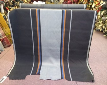 BTY vintage black blue and coral striped auto upholstery