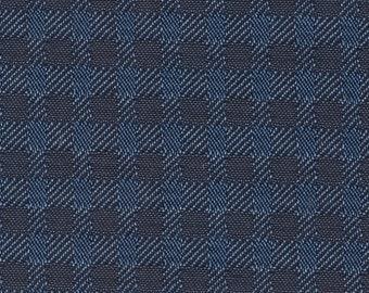 2+ Yards Vintage 1971 Ford Mercury / Maverick / Comet Blue Plaid Cloth Auto Upholstery