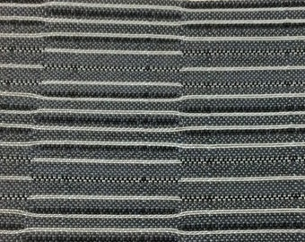 ROLL END 1+ yard 1961 Buick upholstery fabric white gray and black