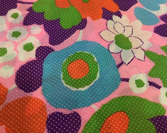 BTY mod vintage floral fabric flocked dotted swiss