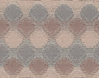 BTY mid century auto upholstery tan and brown diamonds circles