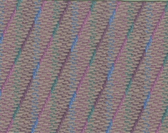 BTY vintage 1980s multi color auto upholstery diagonal stripe