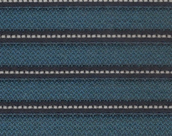 Almost 2 yds mid century 1963 Ford turquoise with black stripe upholstery fabric