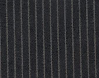 BTY mid century 1950s auto upholstery black felt stripes