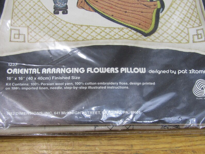 Vintage Dimensions needlework kit Oriental Flower Arranging pillow