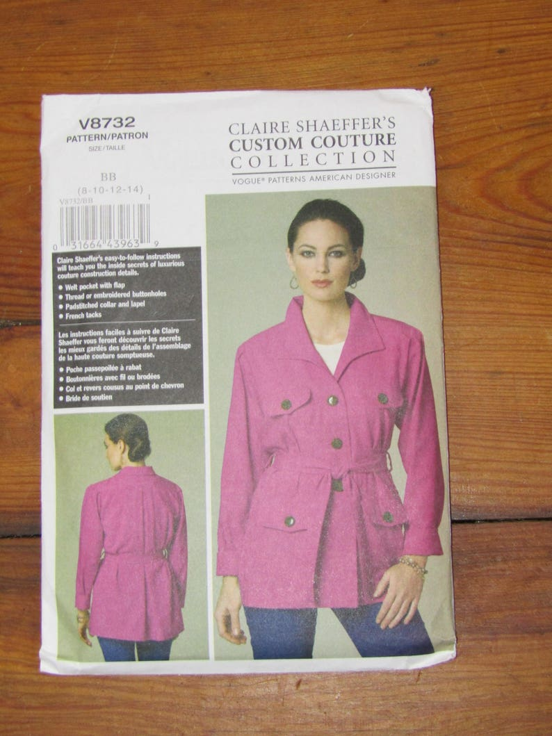 Vogue pattern Claire Shaeffer/'s Custom Couture V8732 belted jacket UNCUT