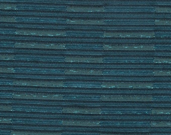 BTY mid century 1963 Mercury upholstery turquoise stripes metallic thread