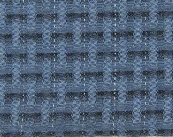 ROLL END 2 yards 1962 Ford upholstery subtle black grey checks metallic thread