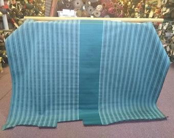 BTY mid century 1964 Ford Custom 500 turquoise stripe metallic thread