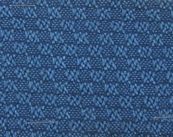 ROLL END 1.33 yards 1975 Pontiac upholstery fabric dark teal woven squares