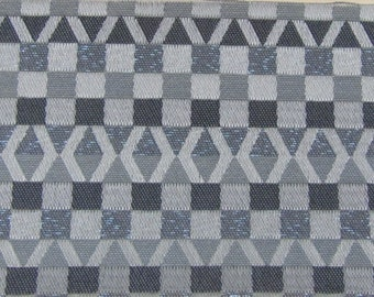 REMNANTS  2 yards + 1950s silver and blue metallic abstract geometric upholstery fabric