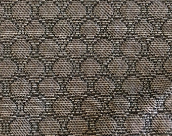BTY 1964 Mercury auto upholstery fabric taupe and silver circles