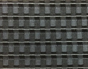 BTY mid century 1960 Chevrolet auto upholstery white grey black pattern