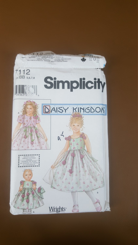 Simplicity Pattern 7112 Daisy Kingdom dress and doll dress   Etsy