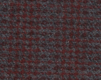 BTY vintage auto upholstery grey and burgundy plaid