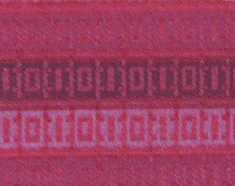 ROLL END 1.5 yards 1966 Ford red abstract stripe upholstery fabric