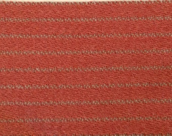 BTY mid century auto upholstery coral and tan stripes