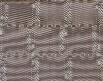 ROLL END 1.5 yards woven plastic plaid upholstery gold metallic thread 1950s