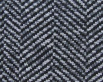 2.5 yards vintage Pontiac upholstery fabric black grey chevrons