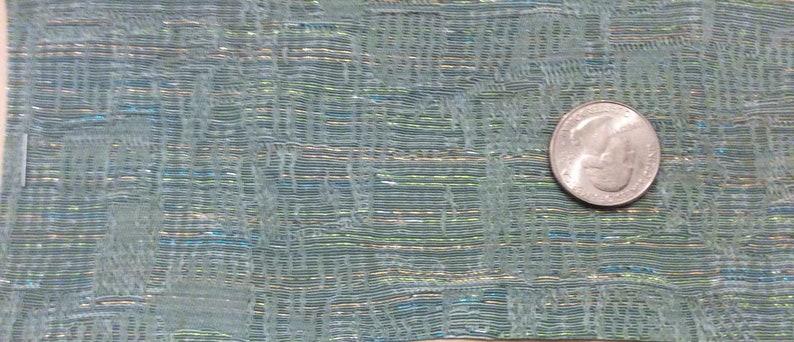 BTY mid century auto upholstery fabric seafoam metallic threads 1962